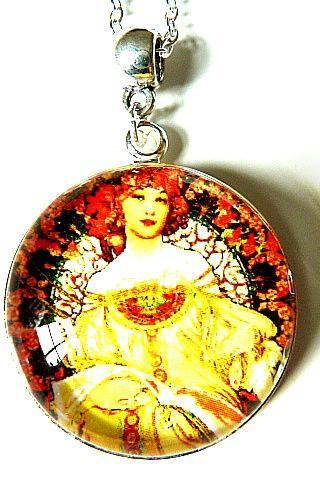 Art Nouveau Vintage Lady Linda Necklace made with a glass cabochon and Tibetan Silver bezel, handmade
