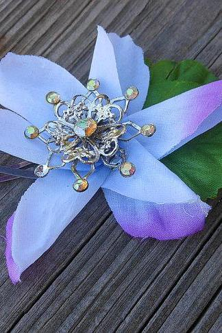 Flower Hair Clip with Fabric Flowers Snap Hair Clip and Antique Charm