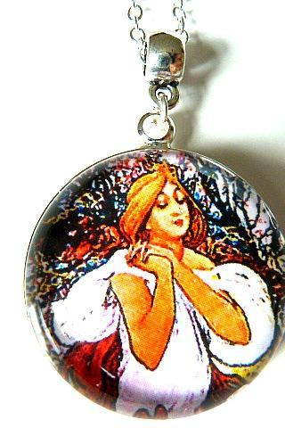 Art Nouveau Vintage Lady Eleonora Necklace made with a glass cabochon and Tibetan Silver bezel, handmade