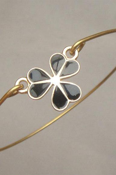 Black Clove Flower Bangle Bracelet
