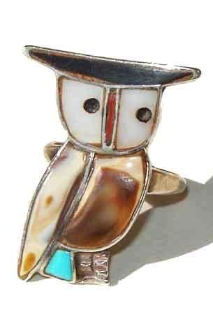 Vintage 60s Zuni Owl Ring Southwestern Indian Sterling Silver Mosaic Inlay Sz 7.5