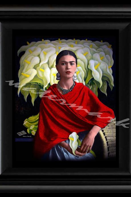 FRIDA KAHLO day of the dead ELREBOZO RED digital oil painting design 8' X 10' photo print