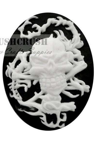 3pcs 30x40mm Skeleton Skull Rope Cameo Cabochon Flat Back F1124