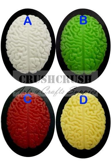 FREE SHIPPING--2pcs 30x40mm Head Brains Brain Cameos FLAT BACK Cabochons F1127(A)