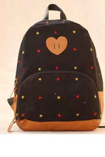 Heart Star Print Backpack