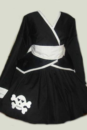 Gothic Lolita Kimono Jacket Skirt with Skull Applique and Obi Sash with Bow Black White Custom Size Plus Size