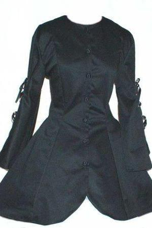 Black Goth Jacket Steampunk Corset Jacket Gothic Lolita Loli Jacket Custom Size Plus Size Made to Measure