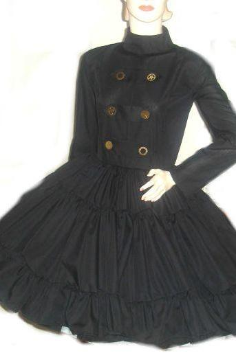 Steampunk Military Dress Black Gothic Goth Dress with Full Skirt and Gears Military Lolita Dress Custom Size Made to Measure Plus Size