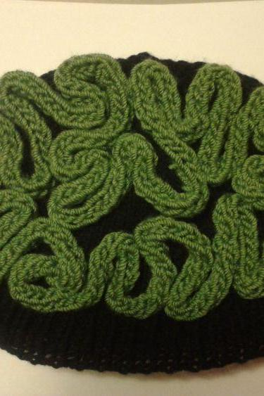 Knit Zombie Brain Hat Thinking Cap Green Black Hat Halloween Costume Unisex Mens Womens Small Medium