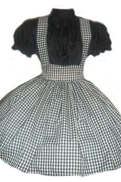 Gothic Dorothy Costume Black Gingham Dress Halloween Costume Goth Lolita Custom Size Plus Size Made to Measure