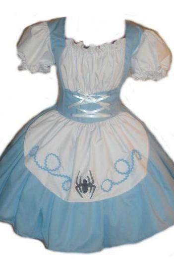 Halloween Costume Womens Little Miss Muffet Dress Storybook Fairytale Costume Blue White Custom Made to Measure including Plus Size
