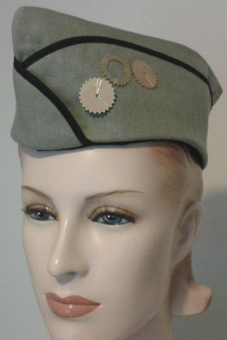 Steampunk Military Hat Steam Punk Hat with Gears Army Green Vintage Style WWII Flight Cap Garrison Hat Women Men Unisex