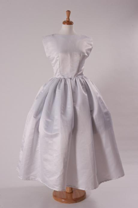 SAMPLE SALE 50% Off Wedding Gown Audrey Hepburn Retro Dress Tea Length Satin Bridal Dress