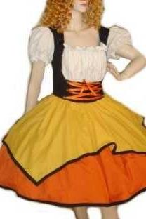 Candy Corn Witch Halloween Costume Cute Witch Dress Custom Size Plus Size Handcrafted Costume Cotton Yellow Orange Black White