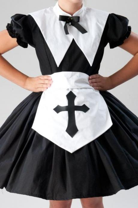 Cute Nun Salem Witch Halloween Costume Gothic Lolita Nun Dress Apron with Cross and Collar Womens Large Cotton Dress Cosplay Costume