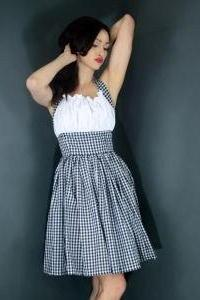 SAMPLE SALE 50% Off Gingham Halter Dress Retro Rockabilly Pin up Halter Swing Dress Womens Small S