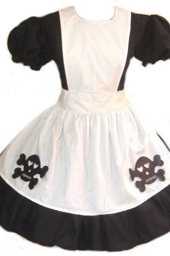 Cute Gothic Skulls Alice in Wonderland Costume Dress and Apron Black and White Cotton with Skull Pin Custom Size Plus Size