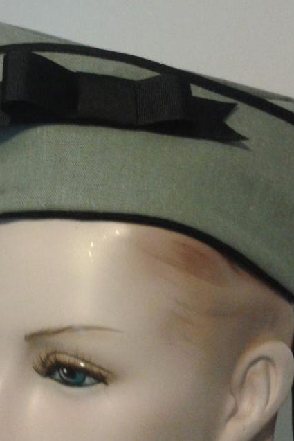 Dieselpunk Military Hat Steam Punk Hat with Bow Steampunk Army Green Vintage Style WWII Flight Cap Garrison Hat