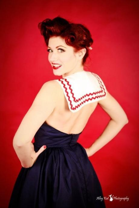 Pin Up Sailor Halter Dress Swing Pinup Rockabilly Retro Cotton Navy Blue Red and White Womens Small