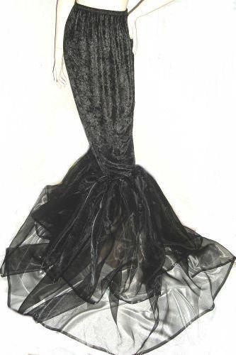 Gothic Black Stretch Velvet and Organza Mermaid Hobble Skirt Custom Size