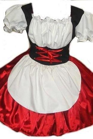 Heidi Halloween Costume German Barmaid Swiss Maid Oktoberfest Dress Womens Large Red Satin Black White