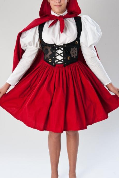 Steampunk Little Red Riding Hood Steam Punk Victorian Womens Halloween Costume Skirt Blouse Vest with Gears Hooded Cape Large