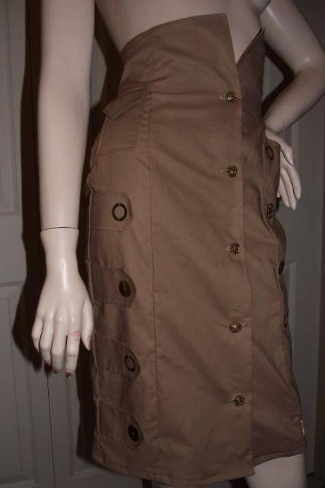 Steampunk Dirgible Stewardess Skirt Womens Steam punk Skirt Cotton Khaki Military Lolita GearsCustom Made Plus Size