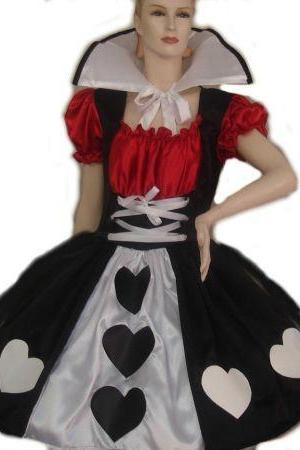 Queen of Hearts Costume Alice in Wonderland Queen of Hearts Dress & Collar Costume Custom Size Plus Size