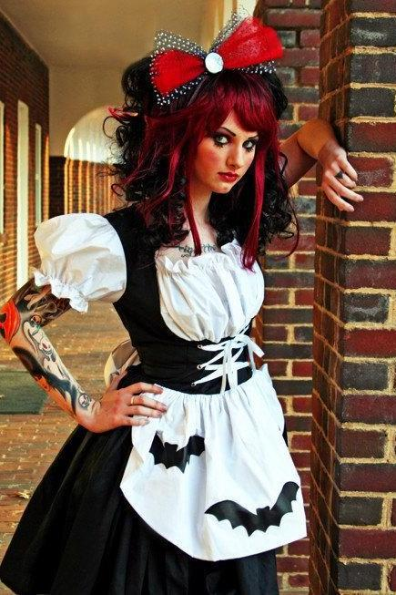Gothic Dress Black and White with Bats Rag Doll Halloween Costume Dress Goth Lolita Cosplay Custom Size Plus Size Made to Measure