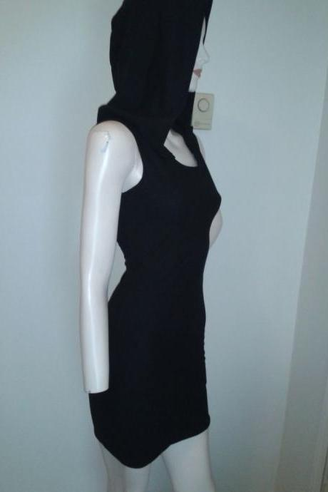 Goth Hooded Dress Black Wiggle Dress Sexy Grim Reaper Halloween Costume Death Pin Up Gothic Custom Size Made to Measure