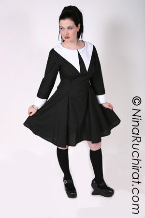 Gothic Lolita Dress Lenore Dress Aline Black with White Collar Long Sleeves with Cuffs Custom Size Plus Size All Sizes