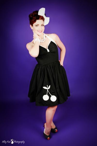 Pin Up Halter Swing Dress Retro Rockabilly Black and White with Cherry Cherries Custom Size Made to Measure Plus