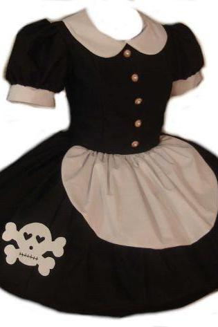 Gothic Rag Doll Dress Lolita with Cute Skull Black and White Womens Large Goth Loli Cosplay Costume Maid
