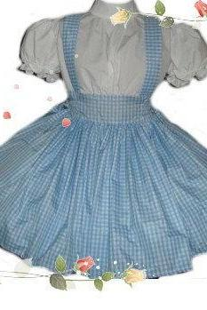 Dorothy Wizard of Oz Costume Blue and White Gingham Dress Womens Storybook Fairytale Halloween Costume Large L