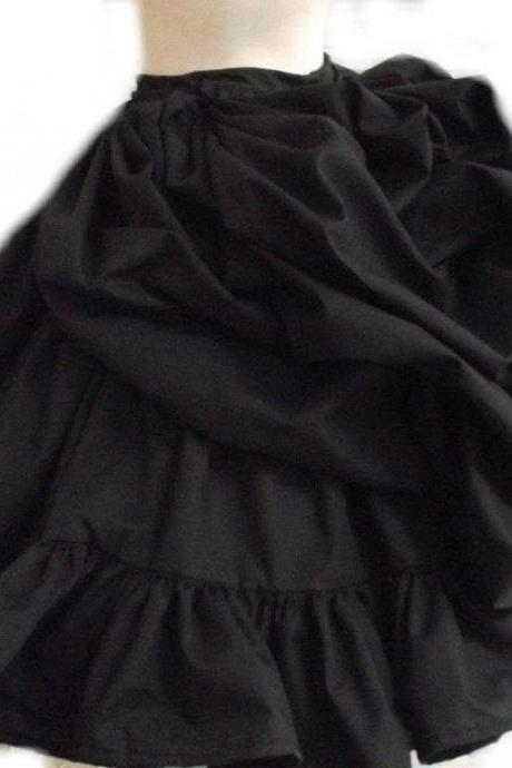 Black Steampunk Skirt Bustle Ruffled Victorian Lolita Gothic Bustled Loli Goth Custom Size Made to Measure Plus