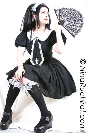 Gothic Lolita Dress Cute Cosplay Black Schoolgirl Cotton Dress with White Peter Pan Collar and Tie with Cross Custom Size Plus Size