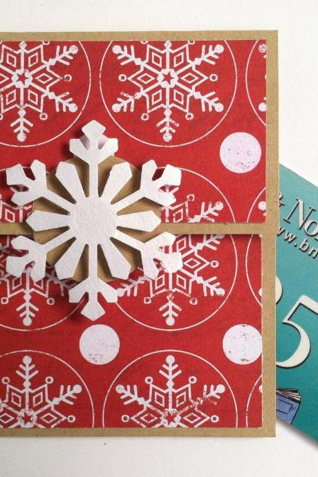 Snowflake Gift Card Holder, Christmas Gift Card Holder, Kraft, Red and White