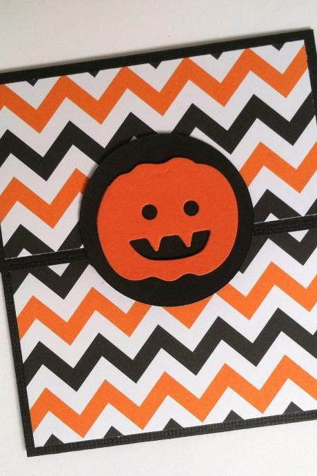 Halloween Gift Card Holder, Orange and Black Chevron, Pumpkin