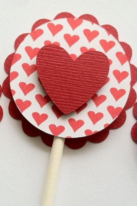 Valentine Cupcake Toppers, Valentine's Day Party Decorations, Heart Cupcake Topper, Set of 12