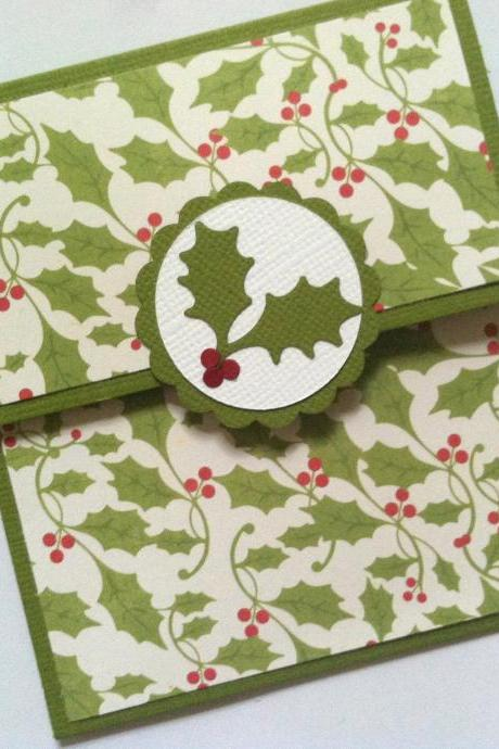 Christmas Gift Card Holder, Holly Gift Card Holder, Red and Green