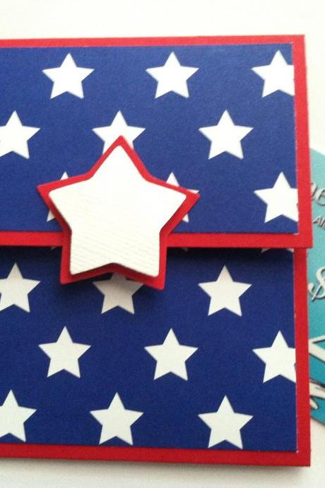 Gift Card Holder, 4th of July Gift Card Holder, Military,Red White and Blue, Patriotic