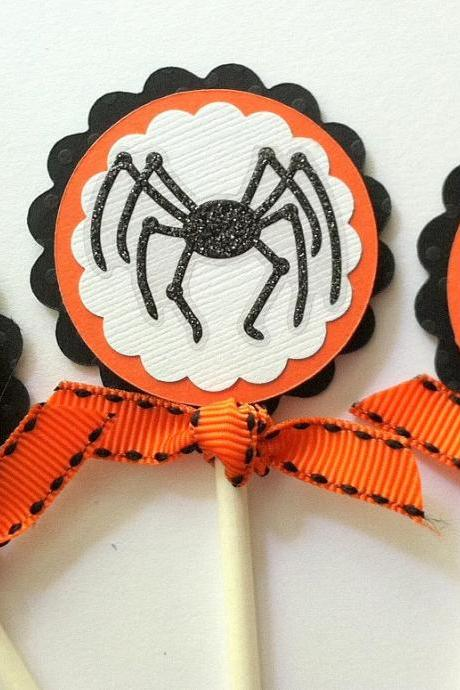 Halloween Cupcake Toppers, Halloween Party Decorations, Spider Cupcake Toppers, Set of 12