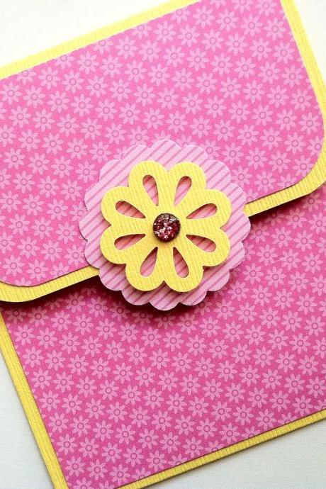 Pink Gift Card Holder, Pink Flower Gift Card Holder