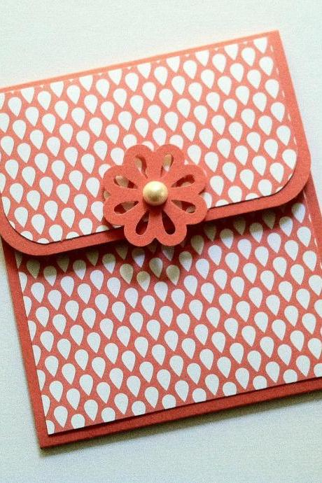 Coral Gift Card Holder, Pink Flower Gift Card Holder