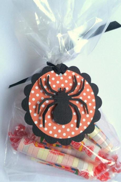 Halloween Favor Treat Bag Tags, Spider, Bat, Witches Hat, Set of 12