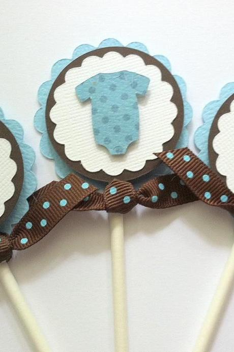 Baby Shower Cupcake Toppers, Blue Bodysuit Cupcake Toppers, Blue Cupcake Topper, Set of 12