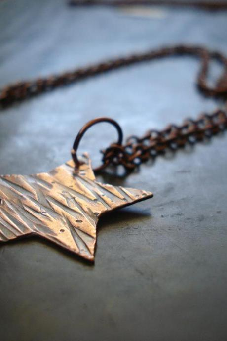 Star necklace, tiny star necklace, shooting star necklace, Hammered copper star necklace, EBsJewels