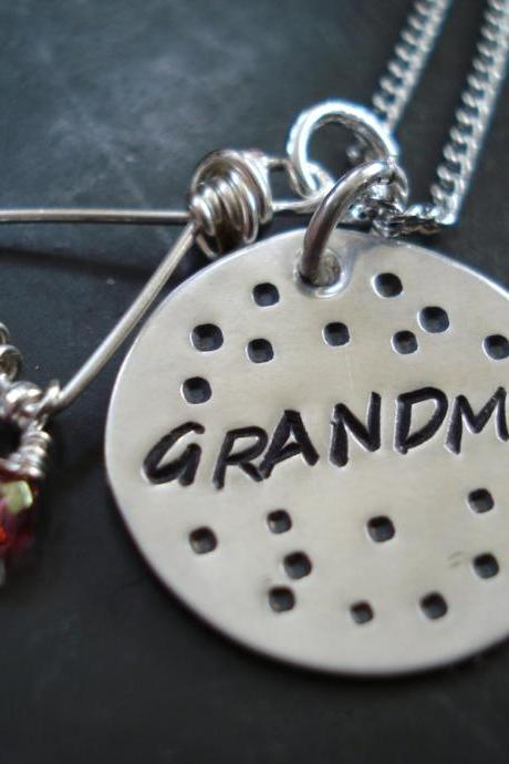 Grandma Necklace, hand stamped, Grandma Jewelry, sterling silver handmade necklace, Grandmothers Necklace