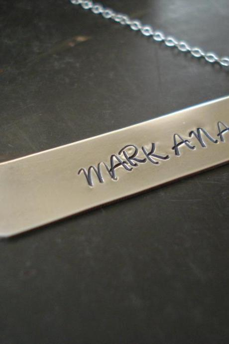 Name plate necklace, silver bar necklace, Custom necklace, Personalized necklace
