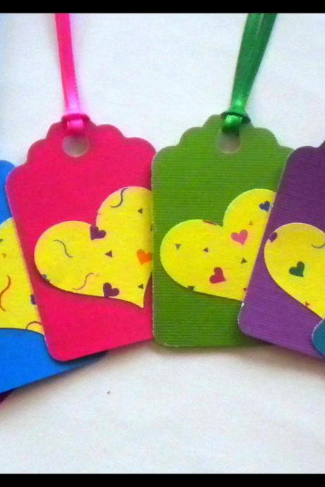 Tags - 6 Heart Cardstock Gift Tags - Bright Colors